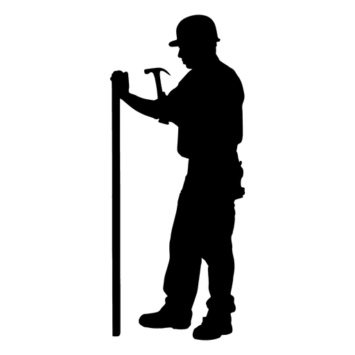 512x512 Construction Worker Hammering Silhouette