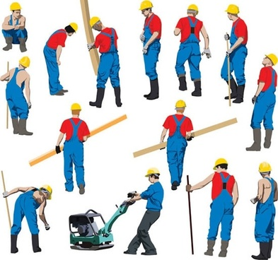 393x368 Construction Worker Silhouette Work Free Vector Download (7,193