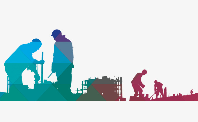 650x400 Construction Worker Color Silhouette, Construction Worker