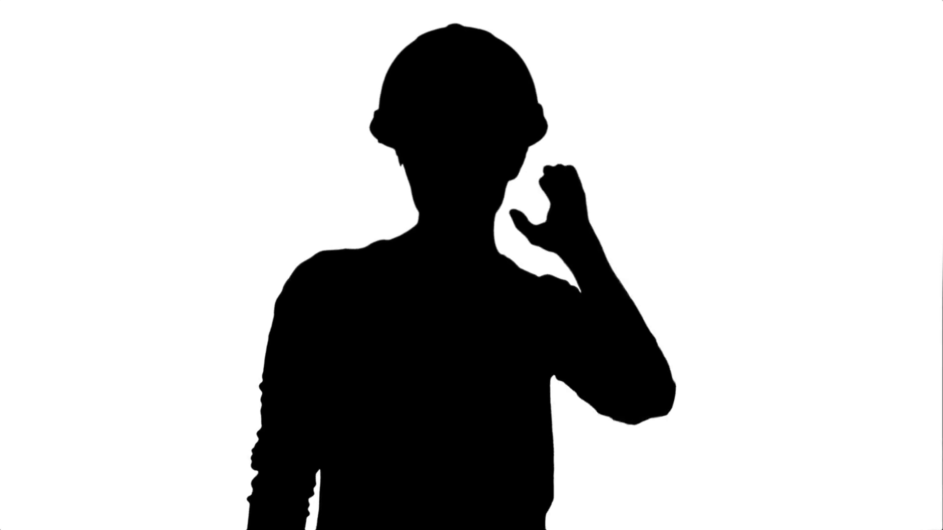 1920x1080 Silhouette Female Construction Worker In Helmet Making Funny