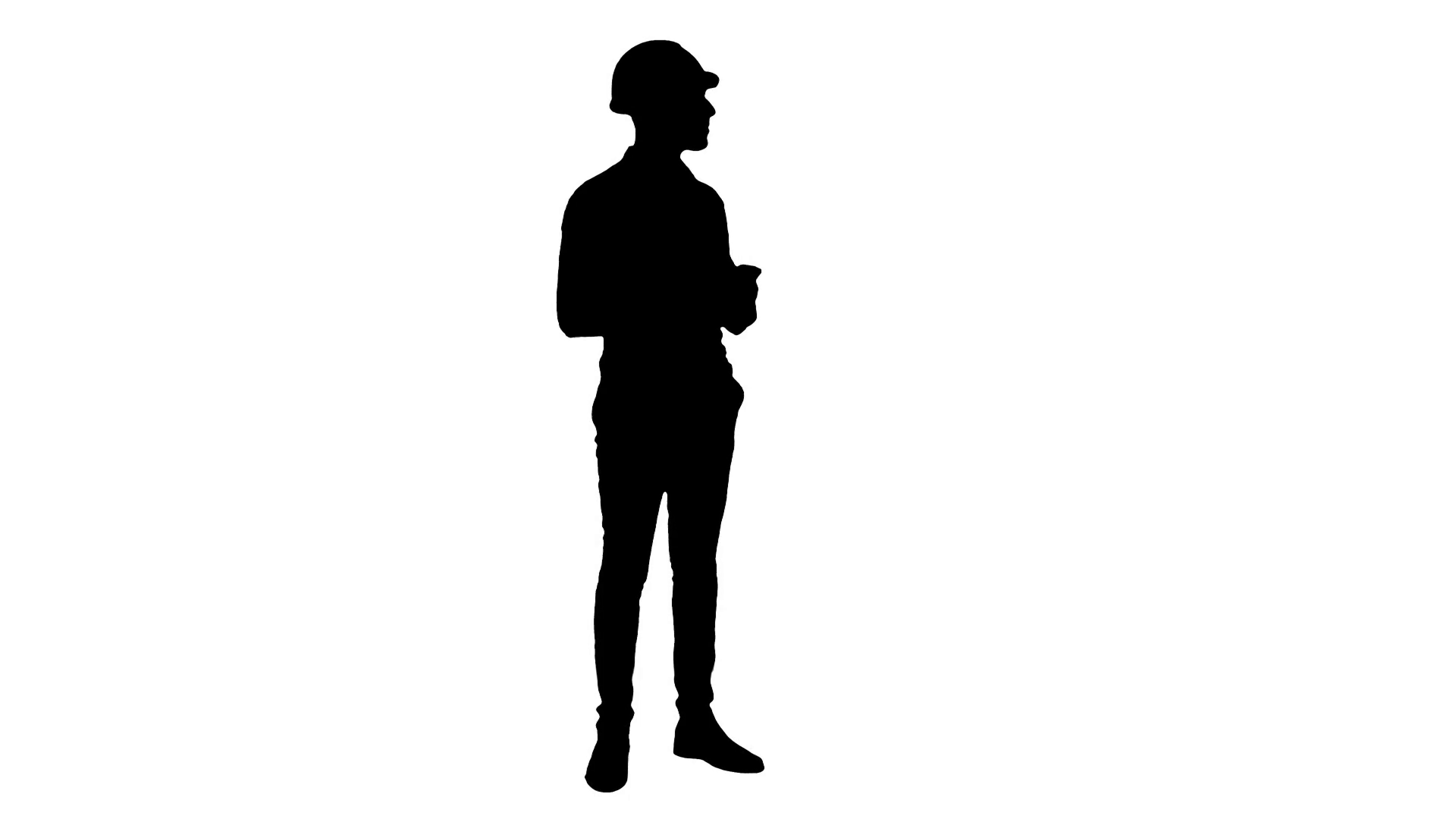 1920x1080 Silhouette Smiling Construction Worker Using Phone To Take Selfies