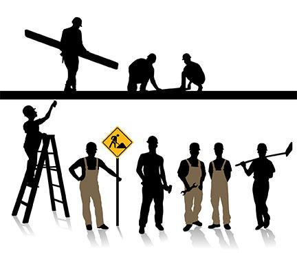 432x367 Construction Worker Silhouette Clipart Panda
