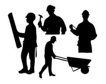 340x270 Construction Workers Silhouette Vector (15) Silhouette Cameo