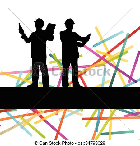 450x470 Construction Engineer Worker People Silhouettes In Active
