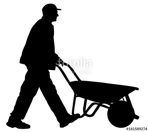 500x444 Construction Worker With Wheelbarrow Vector Silhouette
