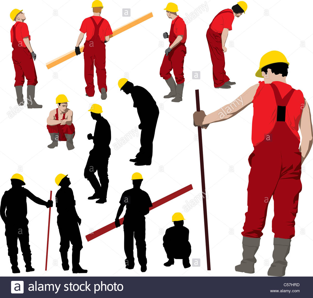 1300x1236 Team Of Construction Workers In Red Workwear An Yellow Helmets