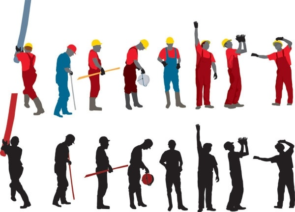 600x432 Workers With The Silhouette Image 03 Vector Free Vector