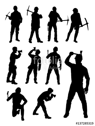 376x500 Construction Worker Gesture Silhouette. Good Use For Symbol, Logo
