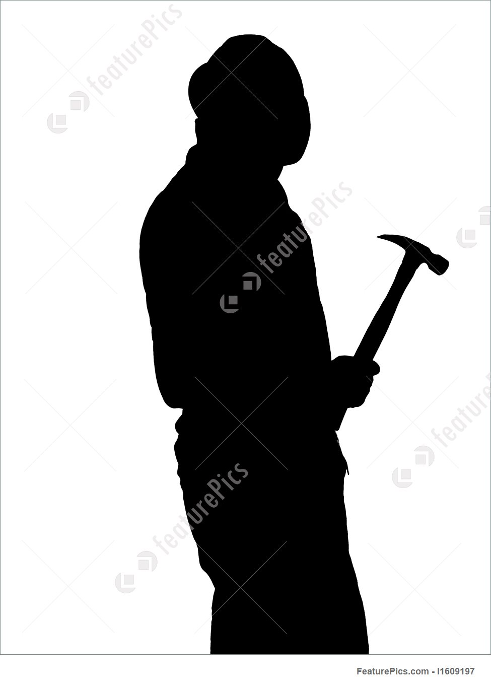 975x1360 Illustration Of Construction Worker Silhouette