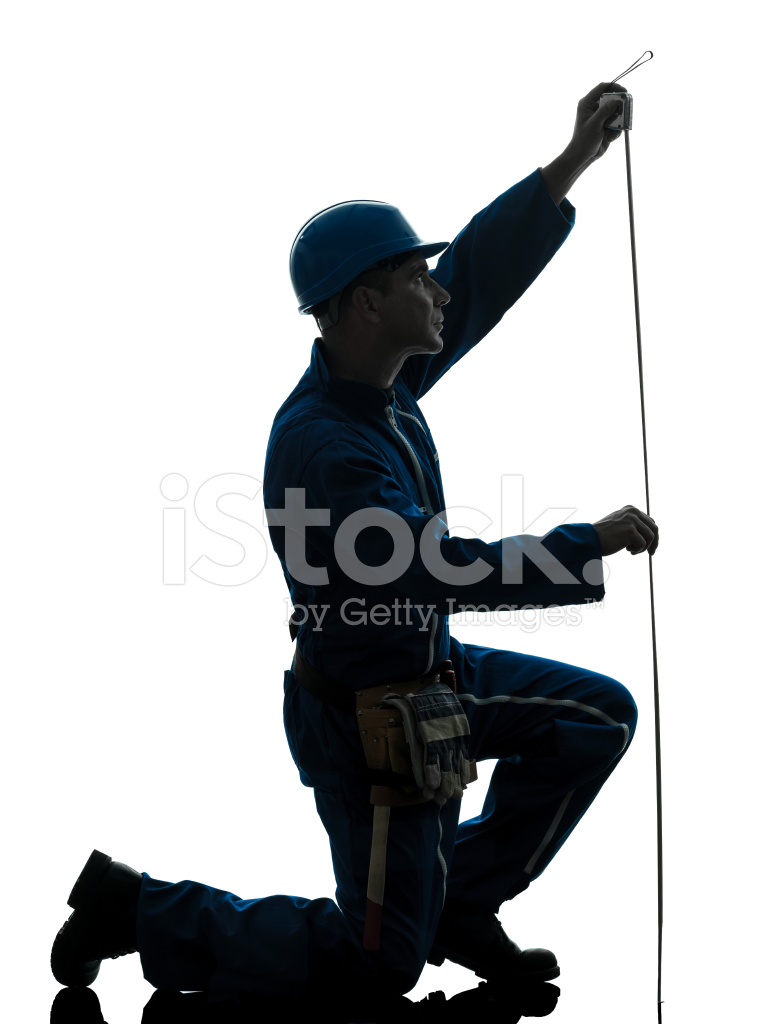 769x1024 Man Construction Worker Holding Tape Measure Silhouette Stock