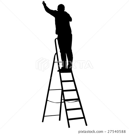 450x468 Silhouette Worker Climbing The Ladder. Vector