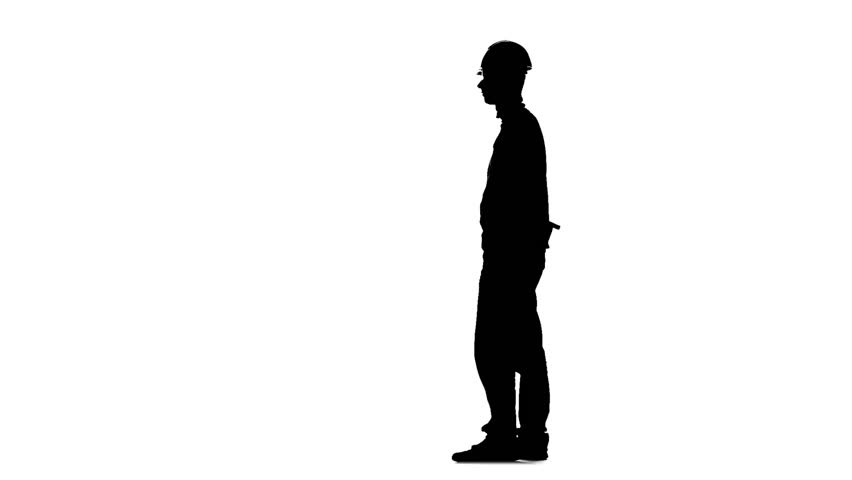 852x480 The Silhouette Of A Construction Worker Holding A Hammer Stock