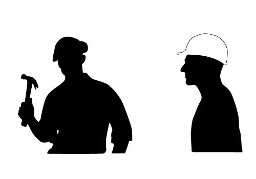 500x350 Two Free Construction Worker Vector Silhouettes Download Now