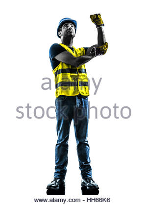 300x420 One Construction Worker Signaling With Safety Vest Extend Boom