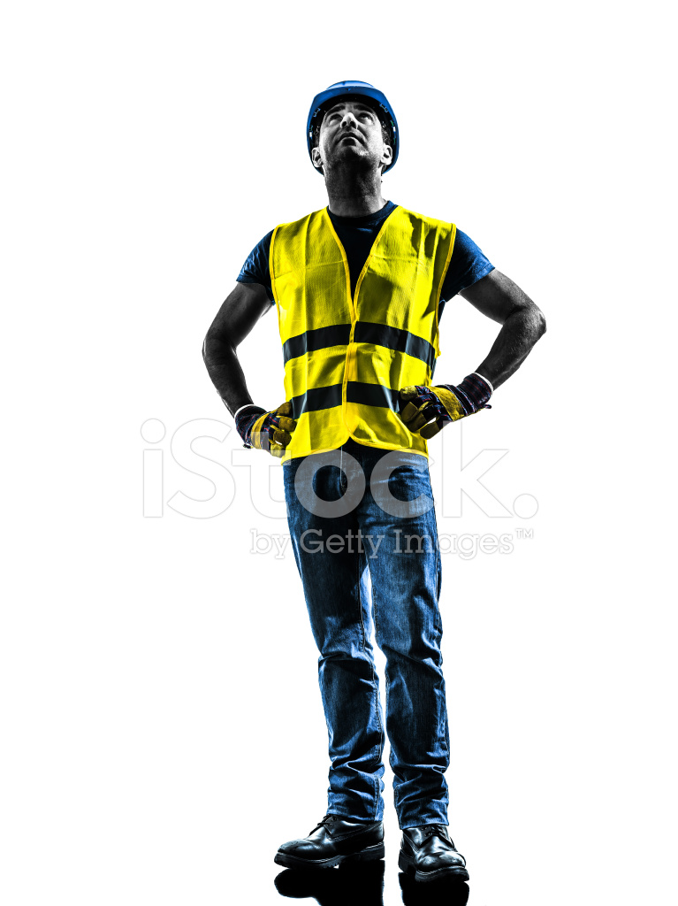 767x1024 Construction Worker Looking Up Safety Vest Silhouette Stock Photos