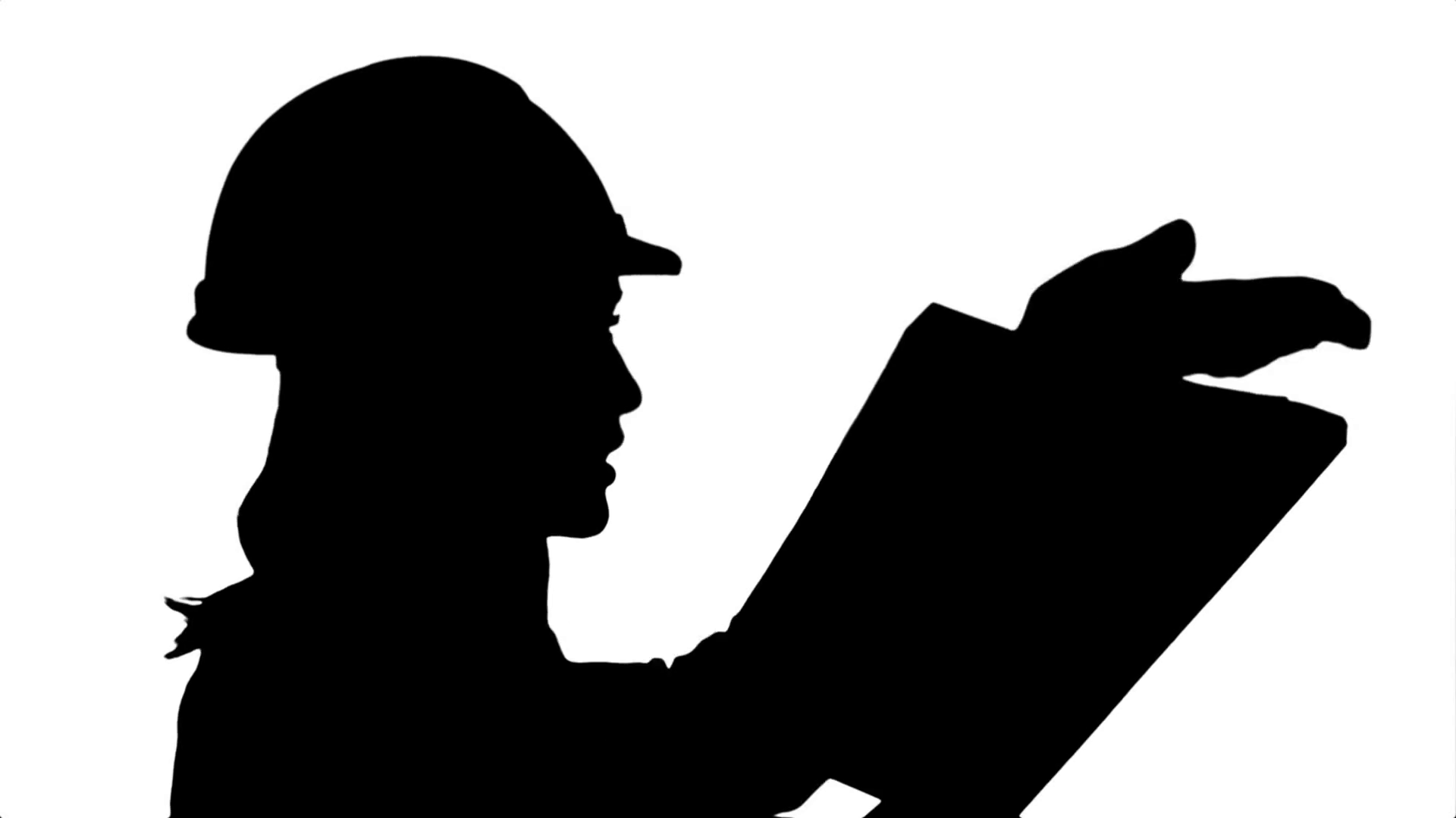 1920x1080 Silhouette Female Construction Engineer Reading Plans And Talk