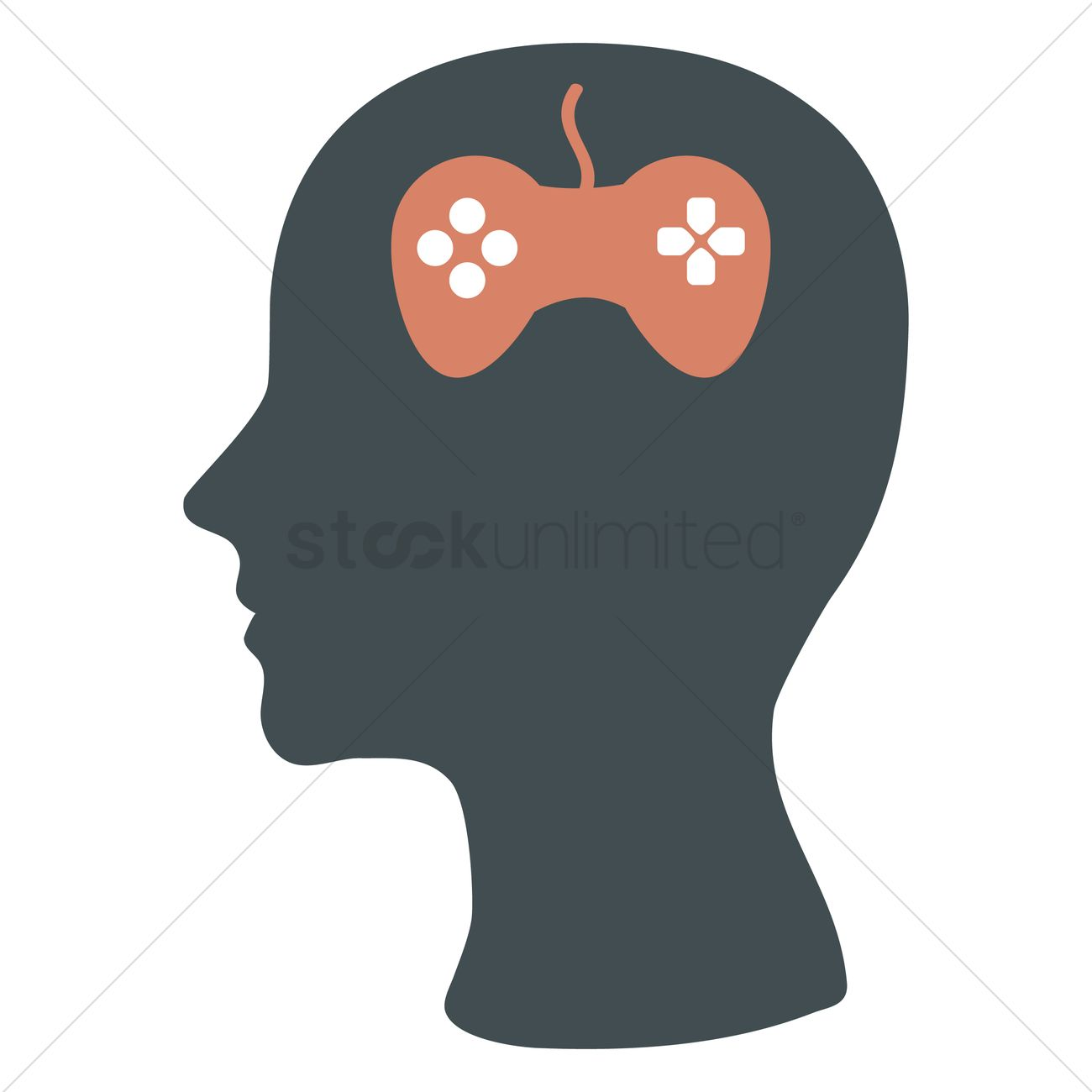 1300x1300 Human Head Silhouette With Joystick Vector Image