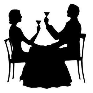300x300 Couple Dining Silhouette Unmounted Rubber Stamp, Paris, New Year'S