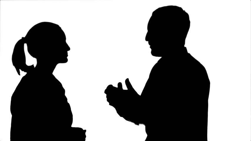 852x480 Silhouette Couple Of Lovers Stand, Talk, Laugh. Stock Footage
