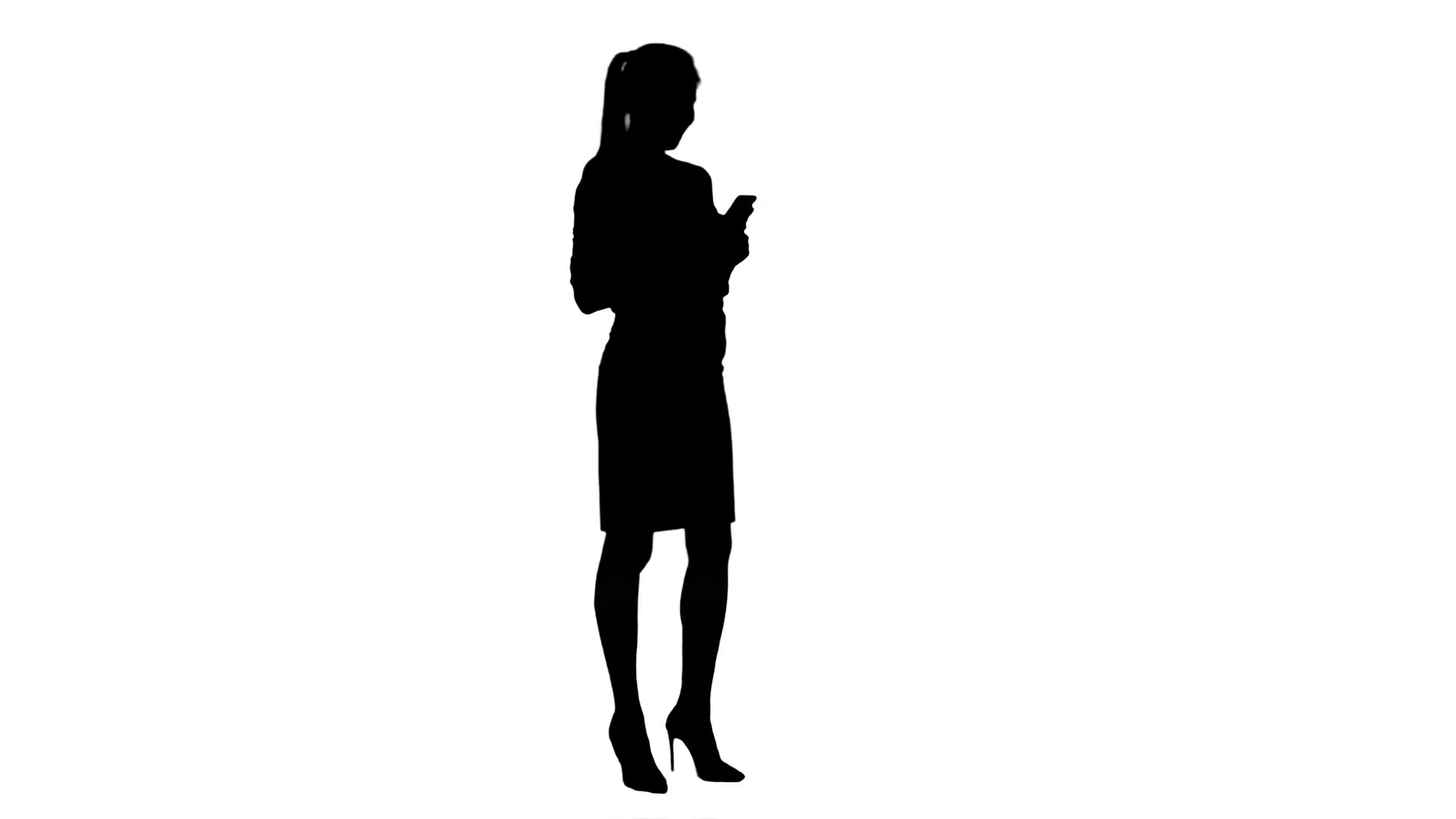 1920x1080 Silhouette Happy Confident Businesswoman Having Cheerful Phone
