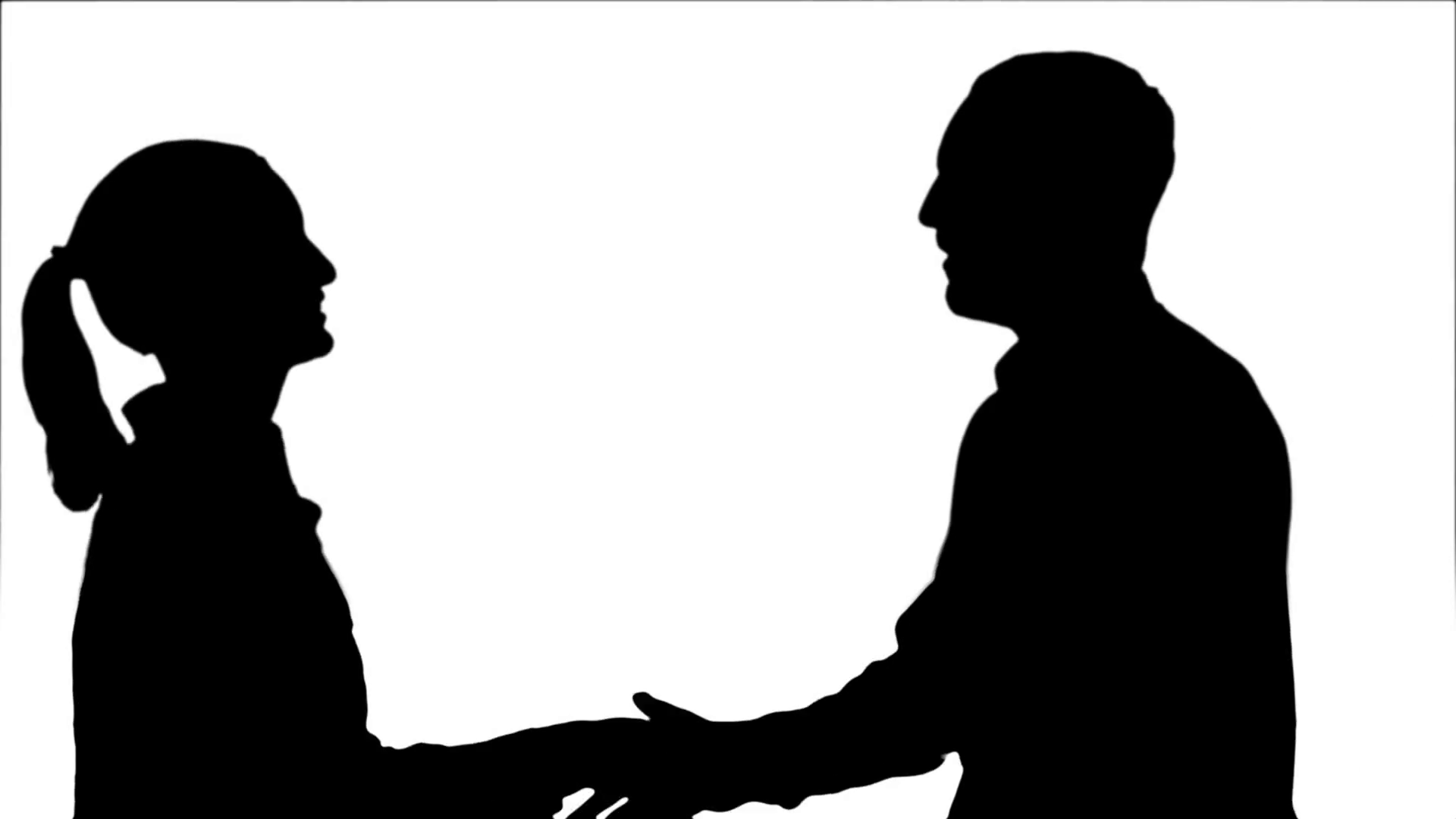 1920x1080 Silhouette People Meet And Shake Hands Stock Video Footage