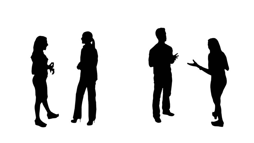852x480 Business Silhouettes. 4 In 1. Couples. People Talking. More