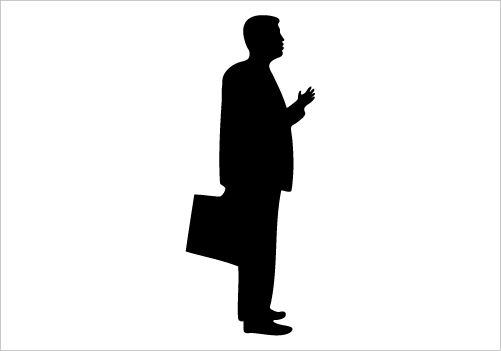 501x351 Businessman Silhouette Vector Standing Pose And Having