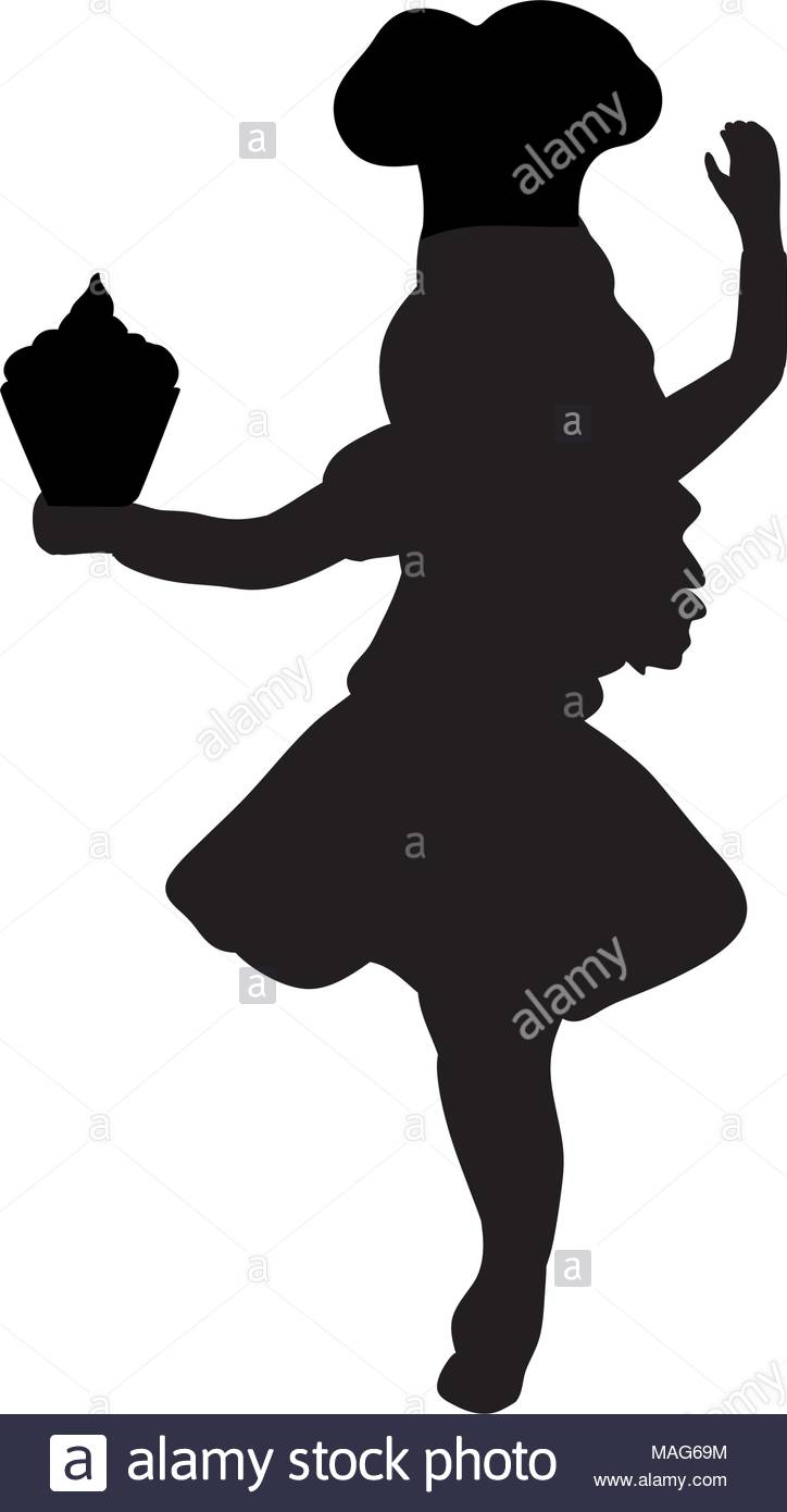 724x1390 Silhouette Girl Cook. International Chefs Day Stock Vector Art