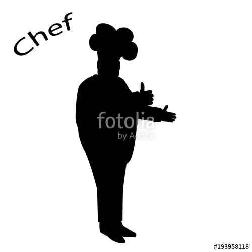 500x500 Black Silhouette Of The Chef In The Cap. A Cook Or A Butcher