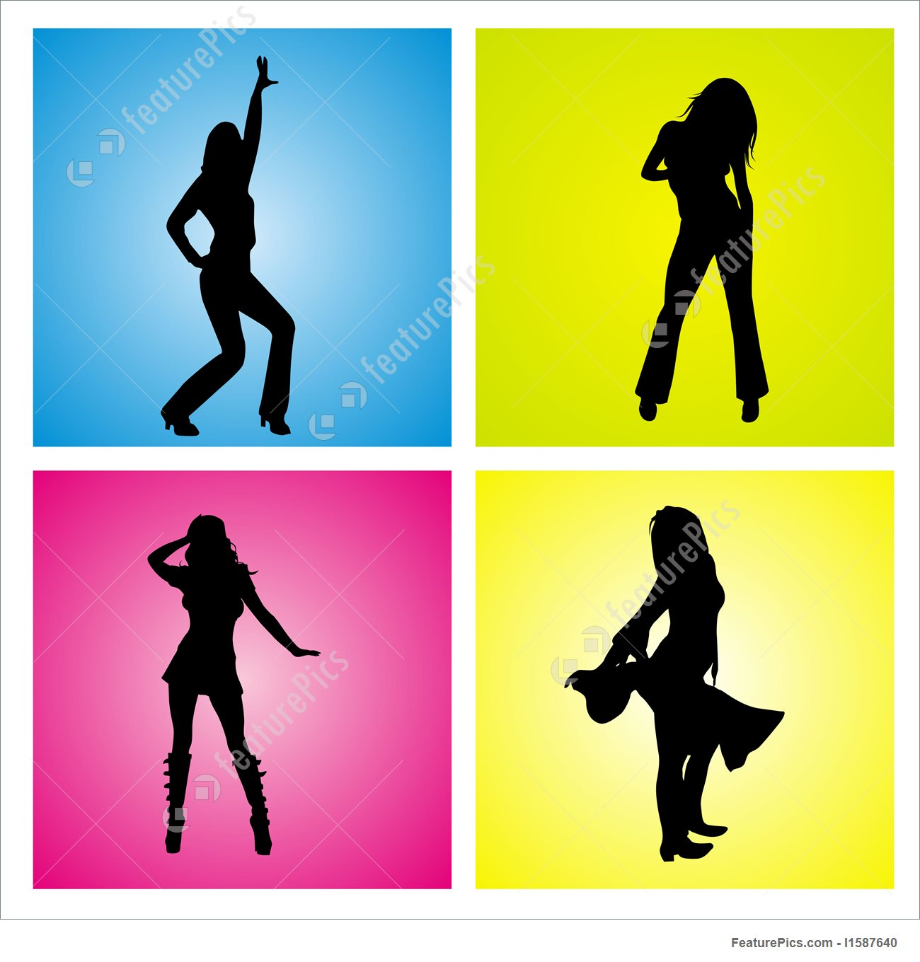 1300x1360 Silhouette Girls Dancing In 4 Themes Stock Illustration I1587640