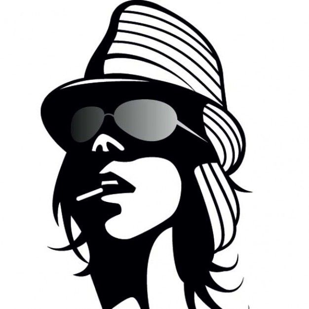 626x626 Cool Girl With Hat And Cigarette Silhouettes
