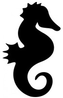 130x201 Cool Seahorse Silhouette Vector