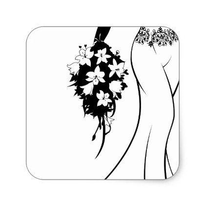 422x422 Bride Silhouette In Wedding Dress Square Sticker Wedding