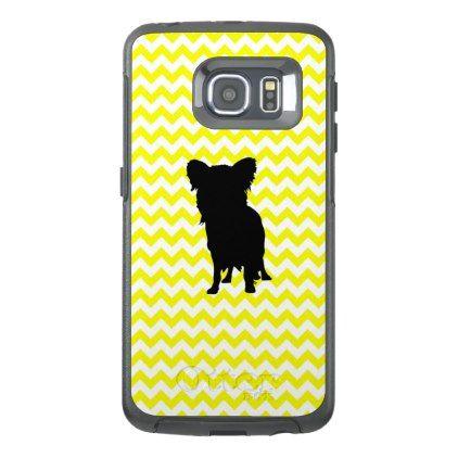 422x422 Lemon Yellow Chevron With Yorkie Silhouette Otterbox Samsung