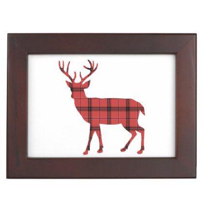 422x422 Rustic Deer Silhouette Red And Black Plaid Tartan Keepsake Box