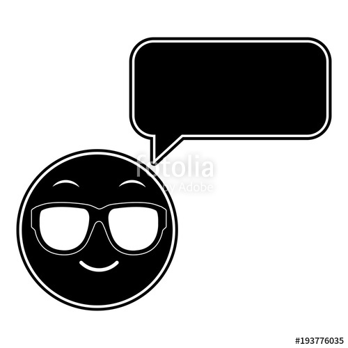500x500 Silhouette Emoji Cool Face With Chat Bubble Stock Image