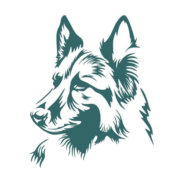 600x600 German Shepherd Cuttable Design Cut File. Vector, Clipart, Digital