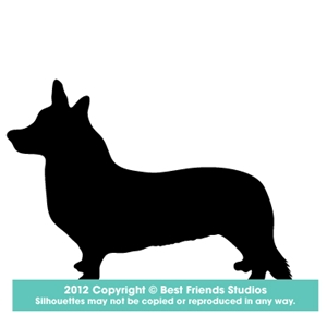 300x300 Welsh Corgi (Cardigan) Dog Silhouette Gifts, Stationery, Address