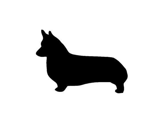 570x428 Corgi Dog Silhouette Custom Die Cut Vinyl Decal Sticker