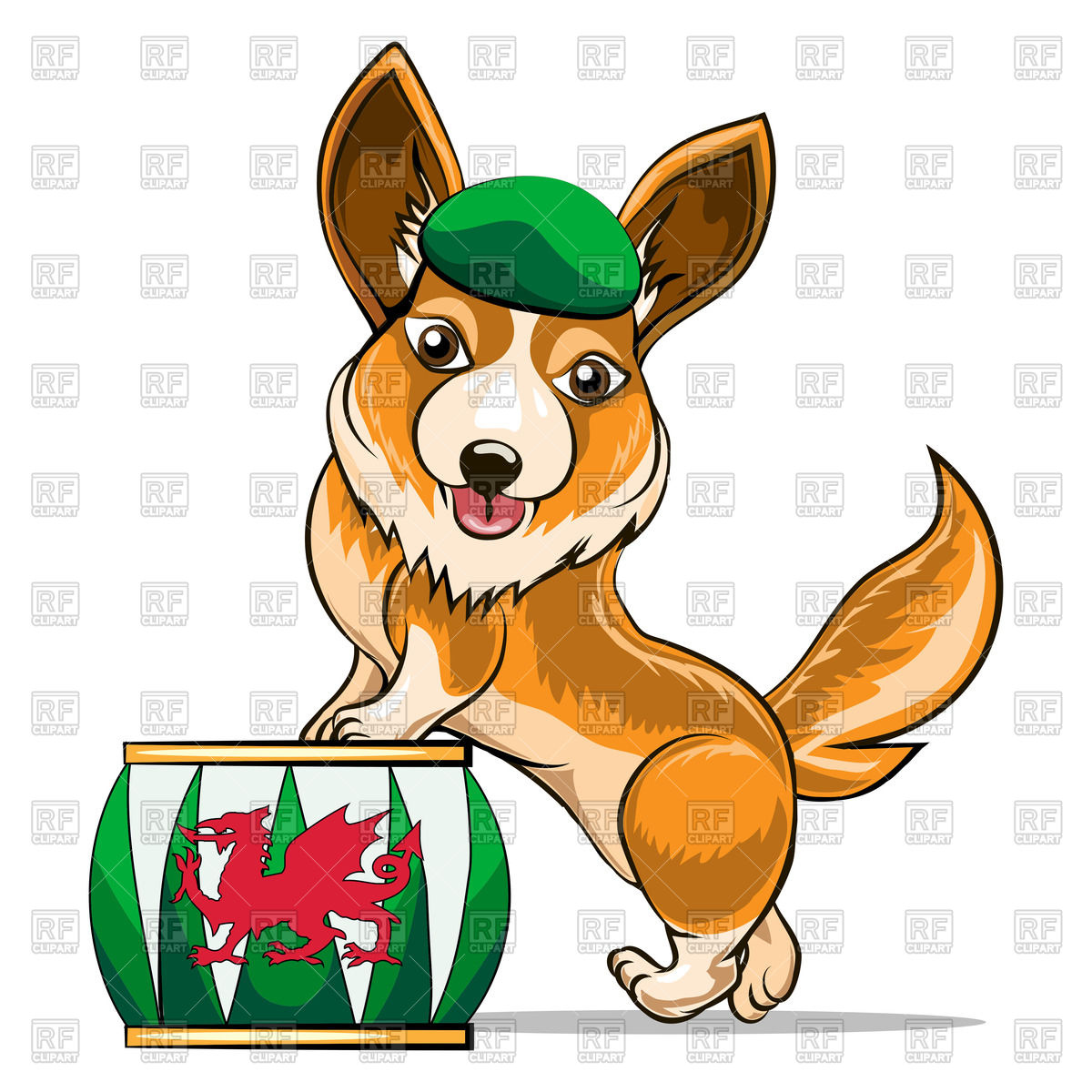 1200x1200 Corgi Dog With Stand In Cartoon Style Royalty Free Vector Clip Art