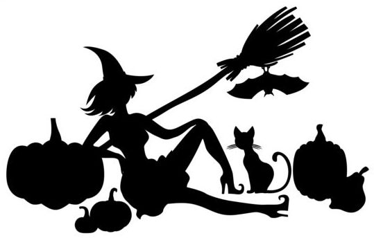 539x357 Halloween Witch With Pumpkin Silhouette Vector