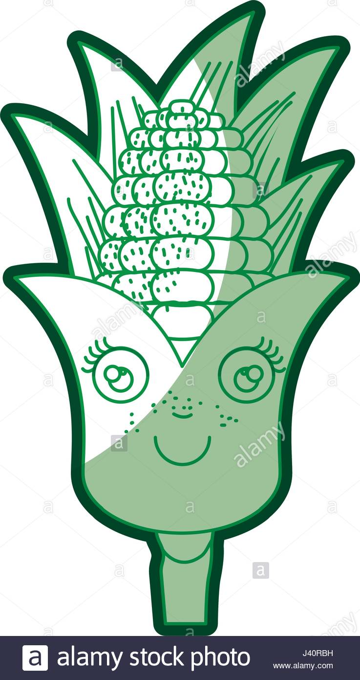 737x1390 Green Silhouette Of Corn Cob Caricature With Leaves Stock Vector