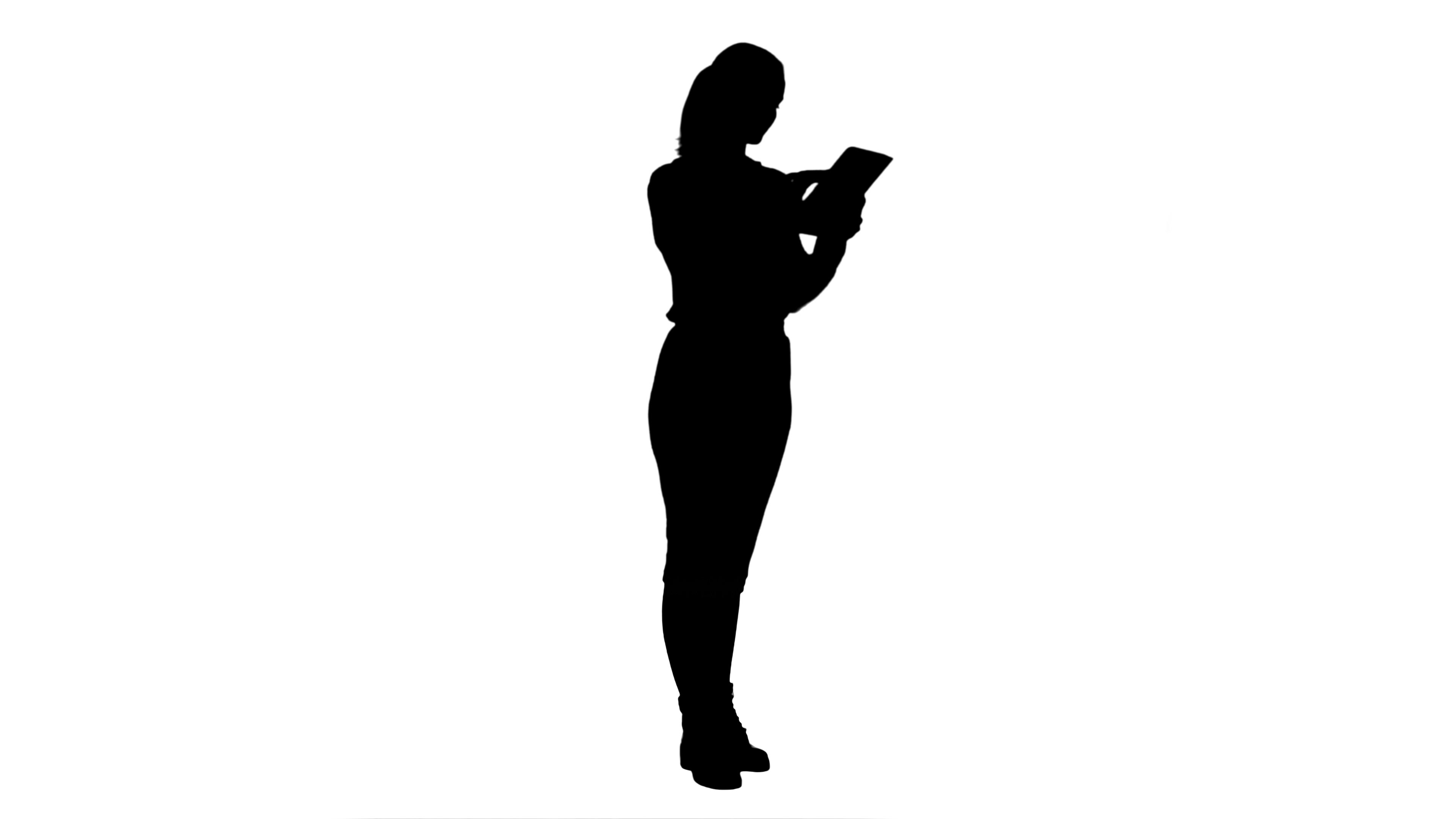 3840x2160 Silhouette Businesswoman Standin With Digital Tablet And Working