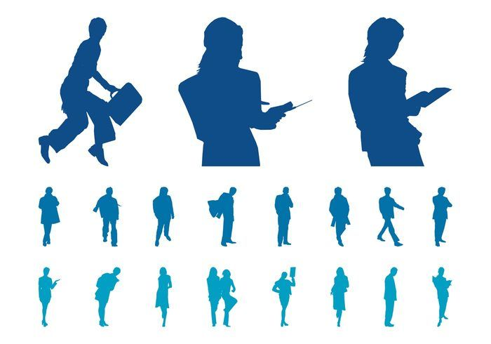 700x490 Businesspeople Silhouette Set