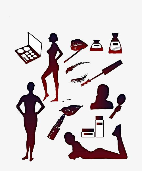 500x600 Hand Drawn Silhouette Cosmetics Model, Mascara Model, Mascara