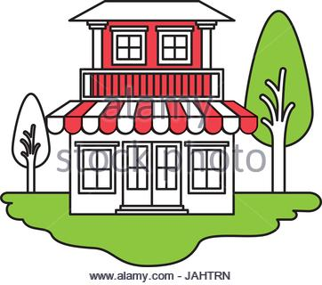 362x320 Color Sections Silhouette House Of Two Floors And Chimney Stock