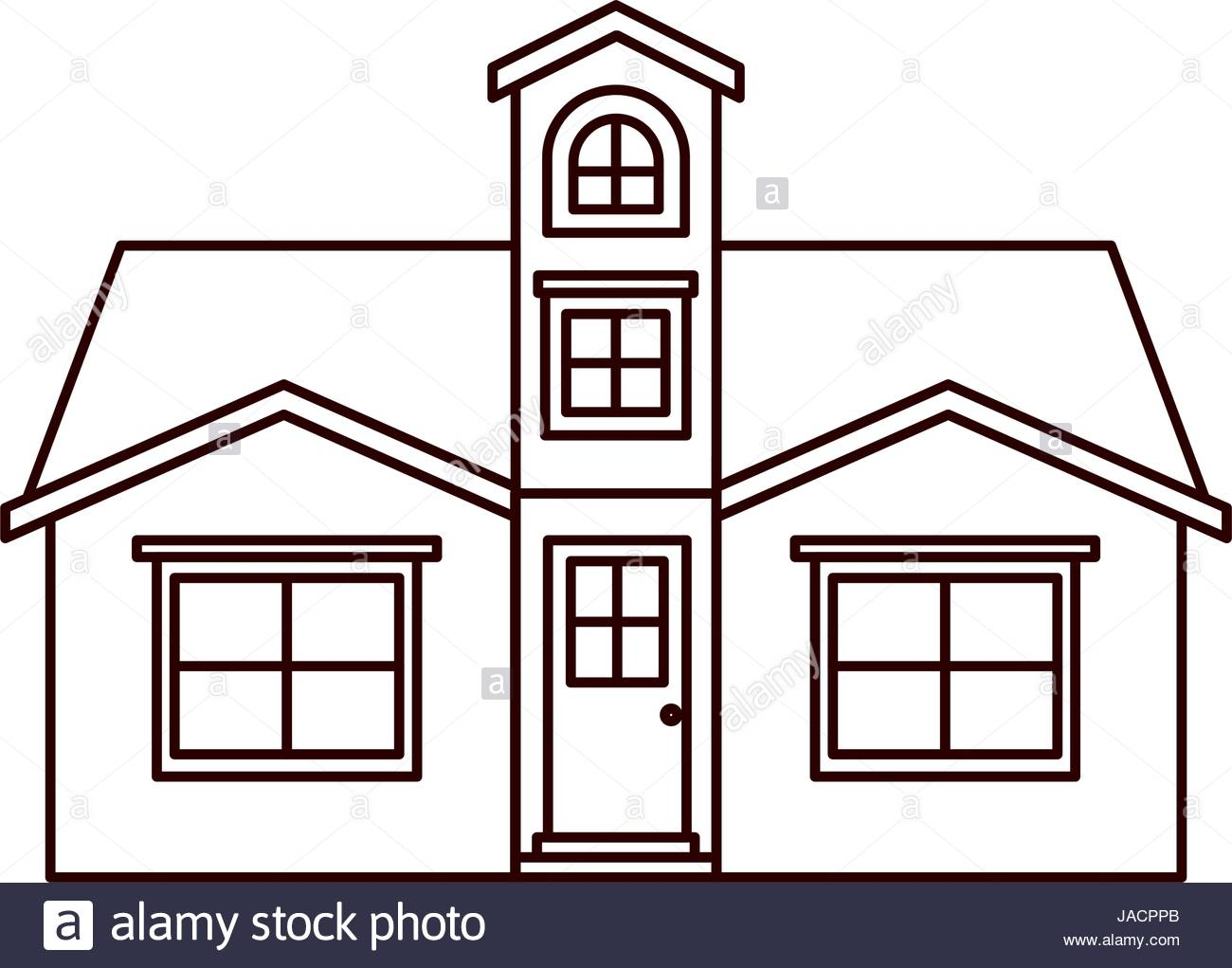 1300x1021 Monochrome Silhouette Facade House With Attic Stock Vector Art