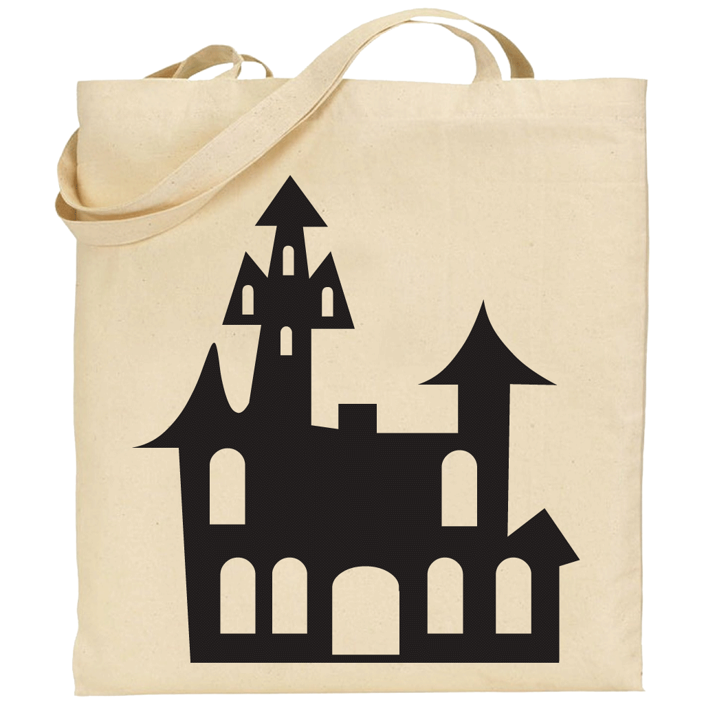 1024x1025 Haunted House Silhouette Tote Bag 100% Cotton Sticker