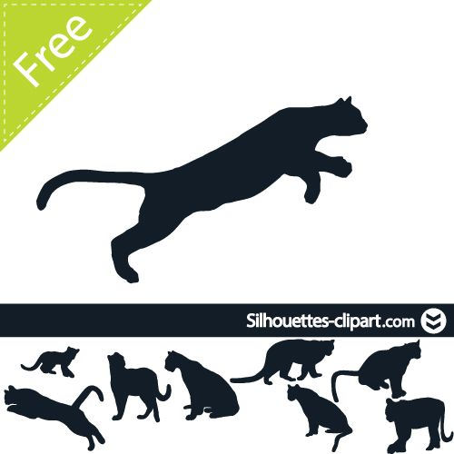 500x500 Cougar Vector Silhouette Silhouettes Clipart Silhouettes