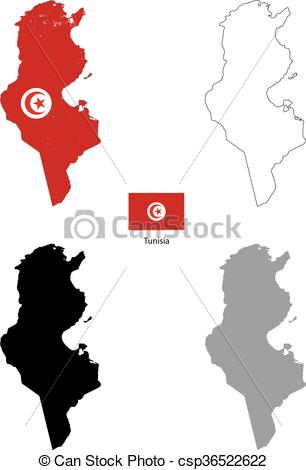306x470 Tunisia Country Black Silhouette And With Flag On Vector